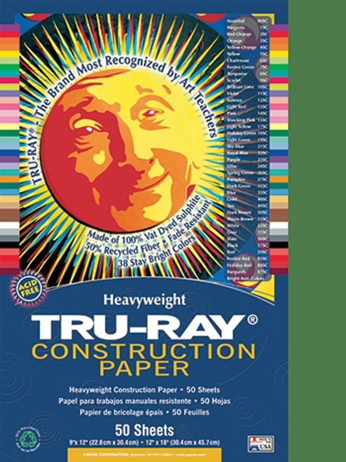 Tru Ray Holiday Green 50 Sht Construction Paper -  12 in.  X 18 in.