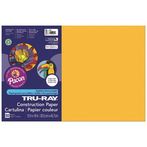 Tru Ray Gold Construction Paper 50 Sheet - 12 in. x 18 in.