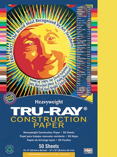 Tru Ray Yellow 50 Sht Construction Paper - 9 in.  X 12 in.