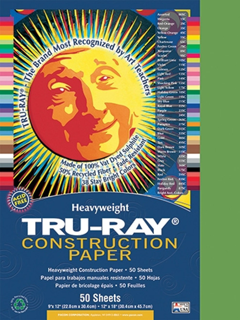 Tru Ray Forest Green 50 Sht Construction Paper - 9 in. X 12 in.