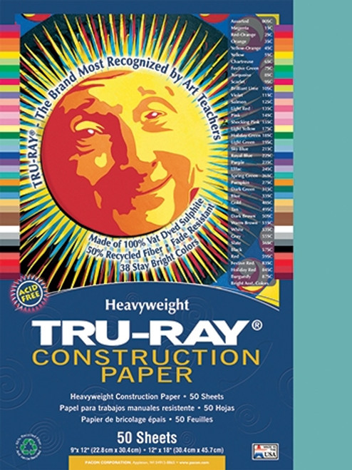Tru Ray Turquoise 50 Sht Construction Paper - 9 in. X 12 in.