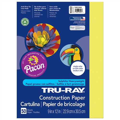 Tru Ray Lively Lemon Fade Resistant Construction Paper - 9 in. x 12 in.