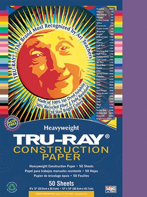 Tru Ray Violet 50 Sht Construction Paper - 9 in. X 12 in.