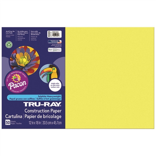 Tru Ray Lively Lemon Fade Resistant Construction Paper - 12 in. x 18 in.