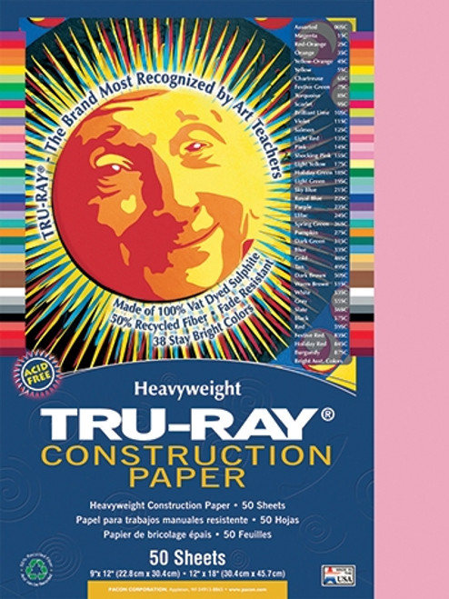 Tru Ray Pink 50 Sht Construction Paper - 9 in. X 12 in.