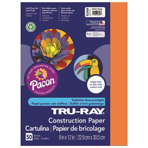 Tru Ray Electric Orange Fade Resistant Construction Paper - 9 in. x 12 in.
