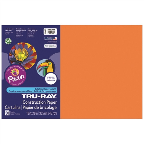 Tru Ray Electric Orange Fade Resistant Construction Paper - 12 in. x 18 in.