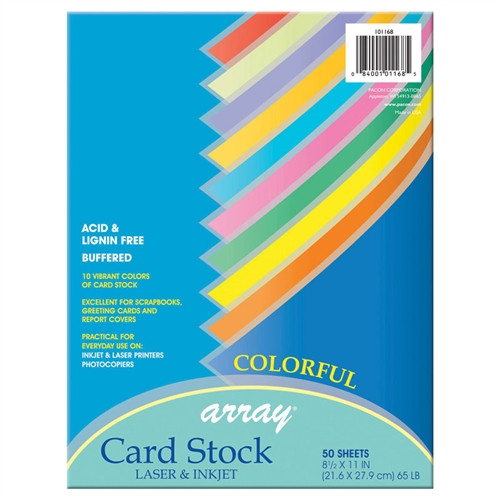 Pacon Card Stock Colorful 50 Sheets - 8.5 in. x 11 in.