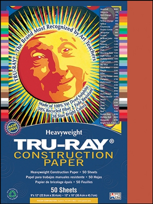 Tru Ray Festive Red 50 Sht Construction Paper - 9 in. X 12 in.