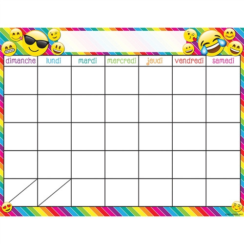 French Calendar Dry Erase Glossy 45 Smart Surface Chart - 17 in. x 22 in.