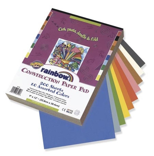 Rainbow Super Value Construction Paper 9 in. x 12 Pad 200 Sheets
