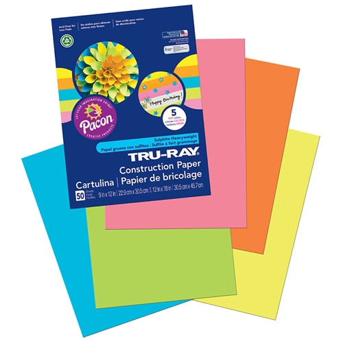 Tru Ray Hot Assorted Fade Resistant Construction Paper - 9 in. x 12 in.