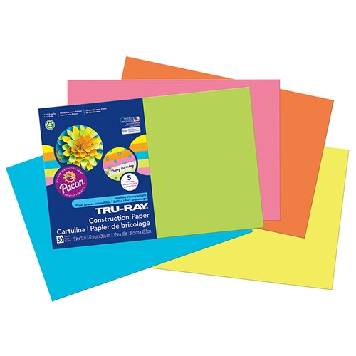 Tru Ray Hot Assorted Fade Resistant Construction Paper - 12 in. x 18 in.