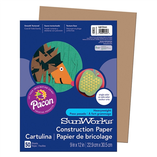 Light Brown Construction Paper - 9 in. x 12 in.