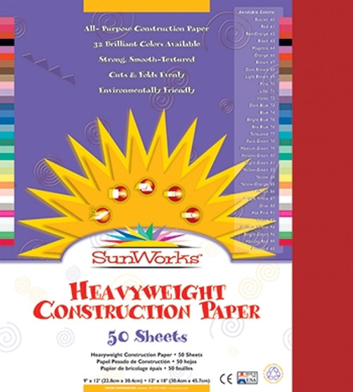 Sunworks Red 50 Shts Construction Paper - 9 in. x 12 in.