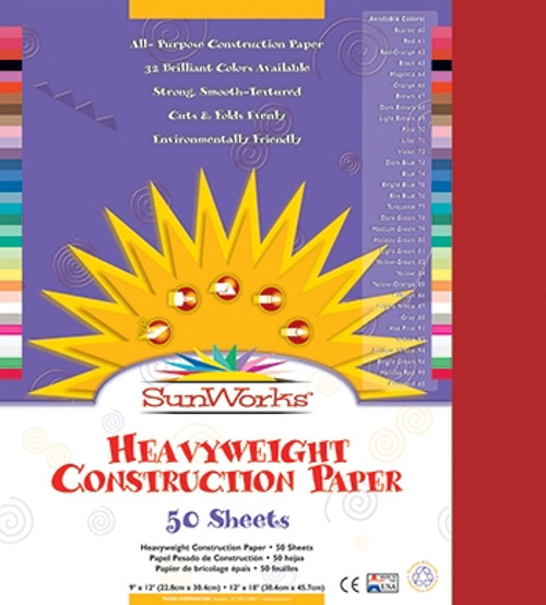 Sunworks Red 50 Shts Construction Paper - 12 in. x 18 in.