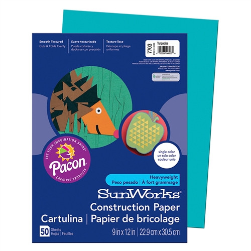 Construction Paper Turquoise - 9 in. x 12 in.