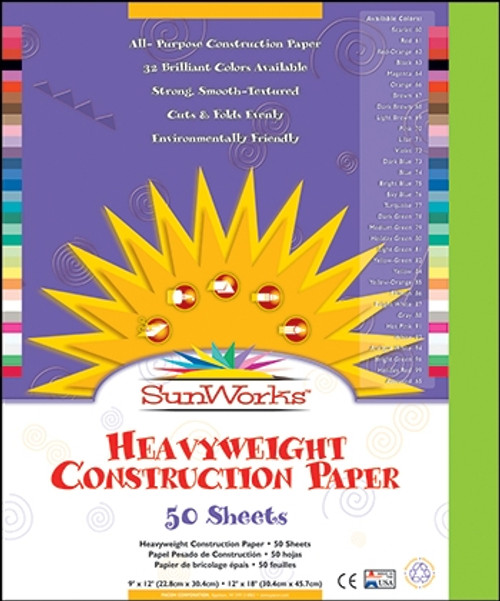 Sunworks Bright Green 50 Ct Construction Paper - 12 in. x 18 in.