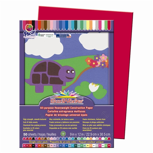 Sunworks Construction Paper Holiday Red - 9 in. x 12 in.