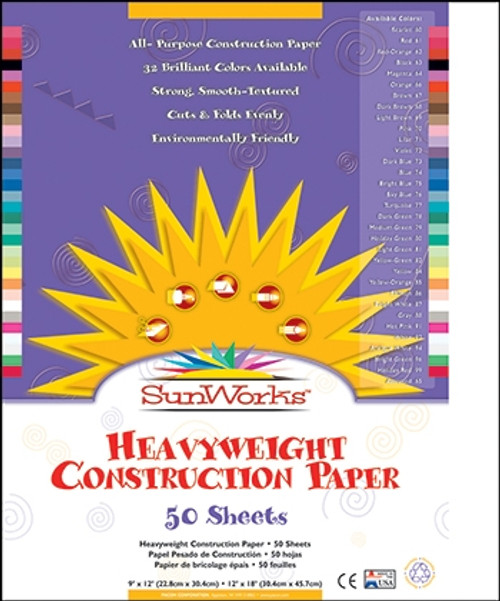 Sunworks Bright White 50 Ct Construction Paper - 12 in. x 18 in.