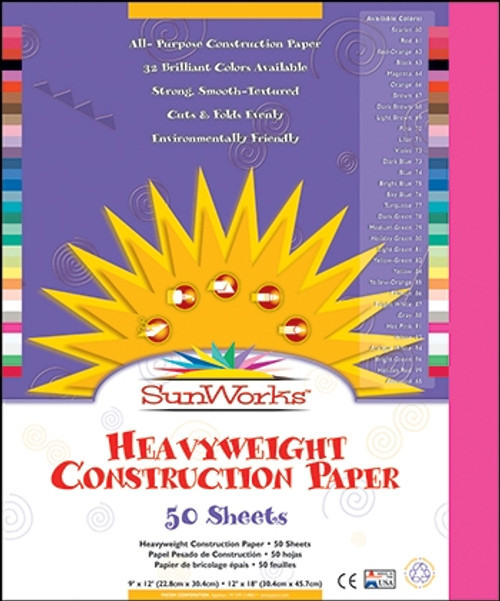 Sunworks Hot Pink 50 Ct Construction Paper - 12 in. x 18 in.