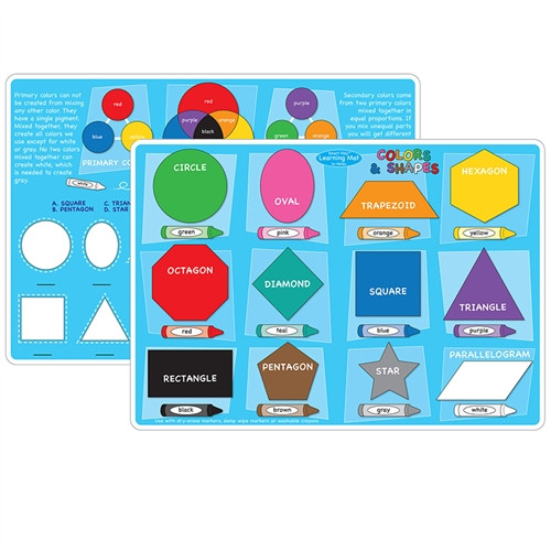 Colors and Hapes Learning Mat 2 Sided Write On Wipe Off