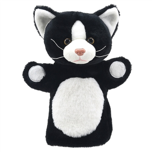 Puppet Black and White Buddies Cat - 9.8 in. x 8.6 in. x 4.7 in.