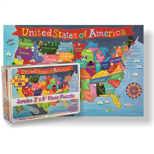 United States Floor Puzzle For Kids - 24 in. x 36 in.