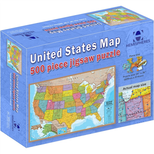 500 Piece Jigsaw Puzzle USA Map - 24 in. x 36 in.
