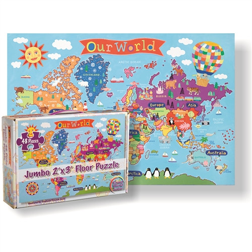 World Floor Puzzle For Kids - 24 in. x 36 in.