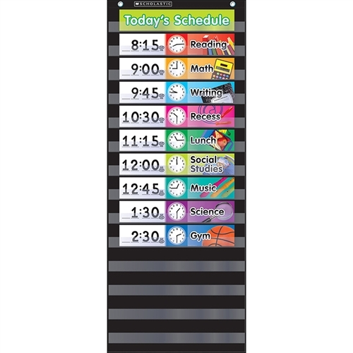 Daily Schedule Pocket Chart Black