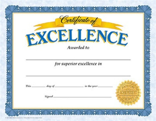 Certificate Of Excellence 30/Pk