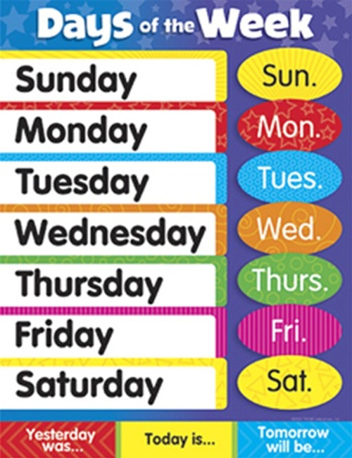 Learning Charts Days Of The Week