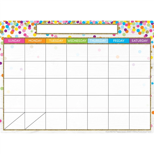 Smart Poly Single Sided Calendar Confetti Style Postermat Pals - 13 in. x 9.5 in.