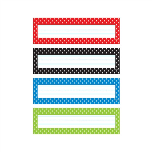 Polka Dots Desk Toppers Name Plates - 2.88 in. x 9.5 in.