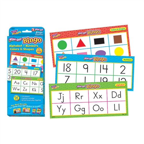 Alphabet Numbers Colors and Shapes Wipe Off Bingo Gr PreK-12