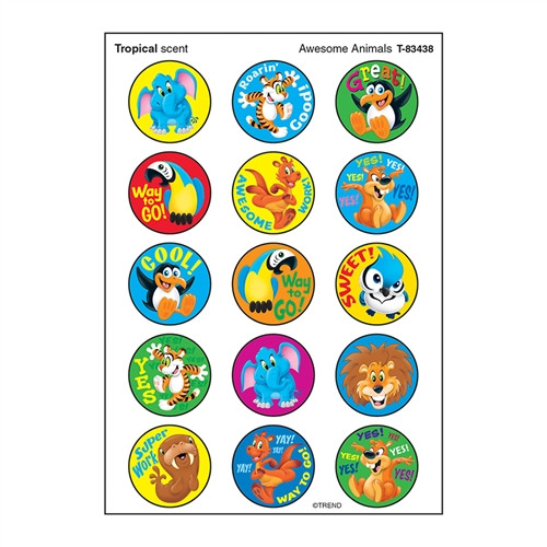 Awesome Animal Stinky Stickers Large Round