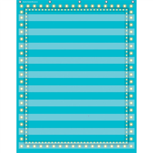 Light Blue Marquee 10 Pocket Chart - 34 in. x 44 in.
