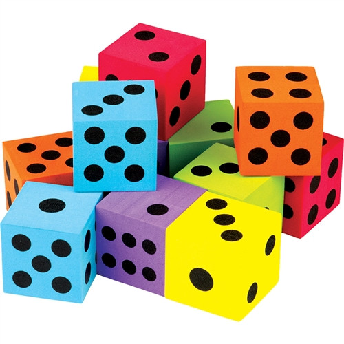 Foam Colorful 12 Pack Large Dice