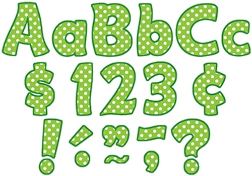 Lime Polka Dots Funtastic Font Letters Combo Pack - 4 in.