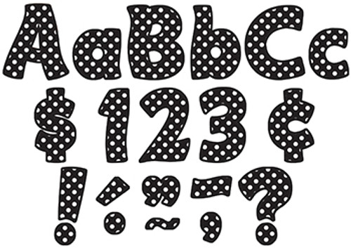 Black Polka Dots Funtastic Font 4 In Letters Combo Pack