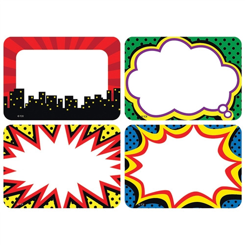Superhero Name Tags Labels - 3.5 in. x 2.5 in.