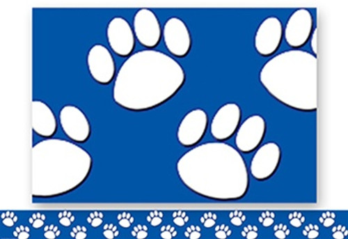 Blue With White Paw Prints Straight