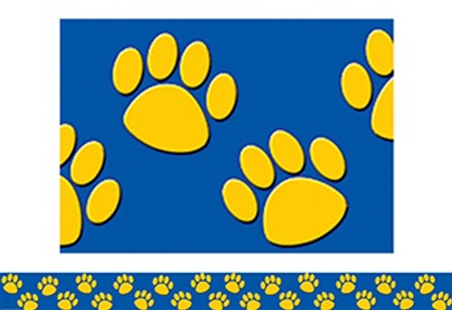 Blue With Gold Paw Prints Border