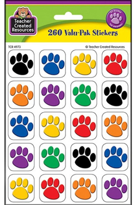 Colorful Paw Print Stickers Value