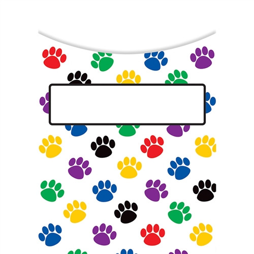 Paw Prints Library Pockets - 3.5 in. x 5 in.