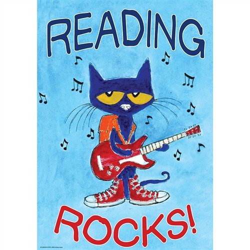 Pete The Cat Reading Rocks Poster Positive - 13.38 in. x 19 in.