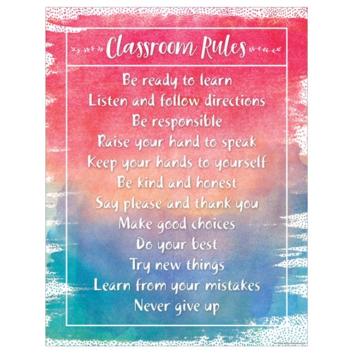 Watercolor Classroom Rules Chart - 17 in. x 22 in.