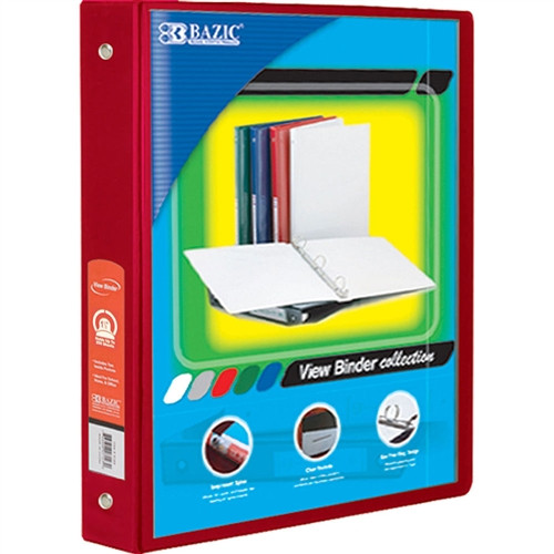 3 Ring Binder with 2 Pockets Red - 1.5 in.
