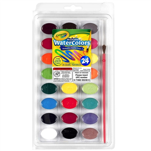 Washable Watercolor Pans With Plastic Handled Brush 24ct